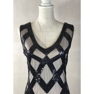 NWOT Black Beaded Flapper Dress with Fringe Sz M